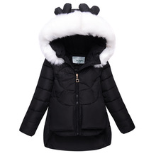 Children Down Jacket Girl Winter Fashion Big  Fur Collar Hooded Down Coat Solid Thick  Warm Jacket Girl For 6-12year