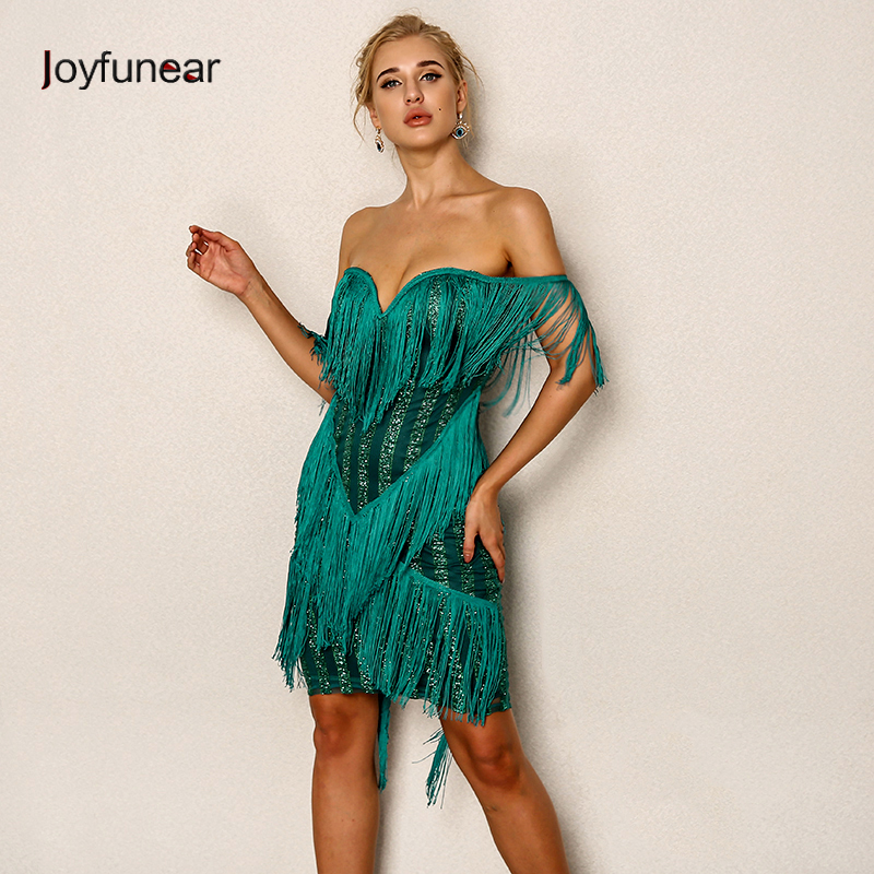 Joyfunear Off Shoulder Tassel Mini Party Dress Women Wholesale Solid Celebrity Clubwear Bandage Dresses Vintage Summer vestidos