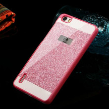 New arrival show logo glitter powder bling hard plastic back cover personality fashion sparkle phone case for huawei p8 p9 lite
