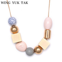 wing yuk tak Fashion Bohemia Necklace Ethnic Jewelry Irregular Beads Wooden Pendants Sweater Statement Necklace For Women(China)