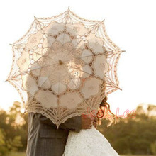 1PC 84cm Diameter Large Size White Wedding Umbrella Handmade Lace Bridal Parasols Wedding Party Decoration Wedding Props
