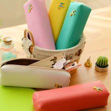 1 Pcs Cute Kawaii Japanese Korean Leather Hourse Pen Pencil Pouch School Supplies Office Accessories Stationery Yellow Blue