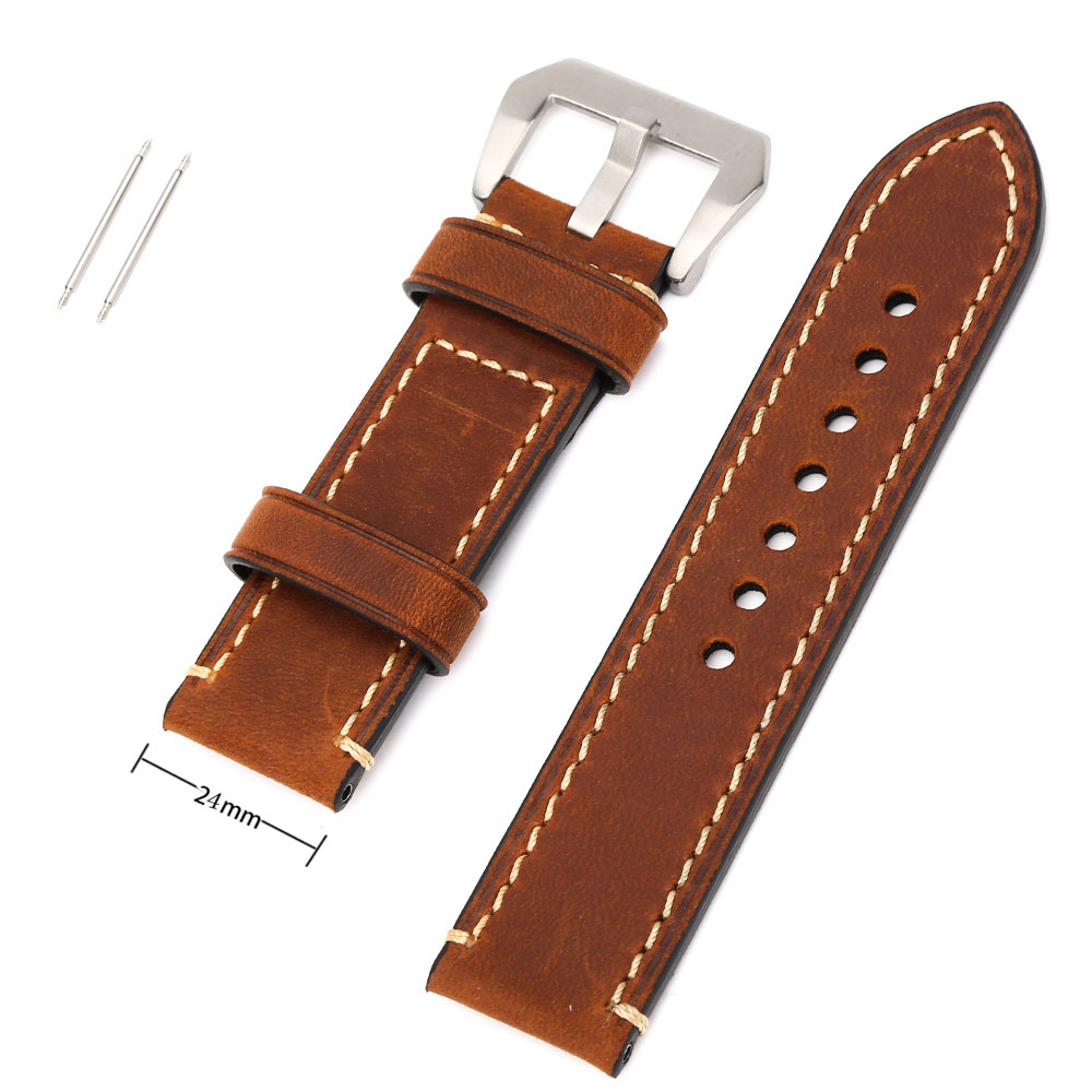 Hastyle Brown 24mm Vintage Mens Genuine Leather Replacement Watch Strap Band Stainless Steel Buckle <br><br>Aliexpress