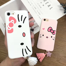 Fashion Kitty Tassel Pendant Phone Cases For iphone7 Fundas For iPhone 7 6 6S Plus Lovely Cartoon Back Cover Hot
