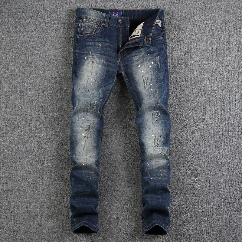 European American High Street Fashion Mens Jeans Dark Blue Color Dirty Paint Ripped Jeans For Men Slim Fit Brand Jeans PantsÎäåæäà è àêñåññóàðû<br><br>