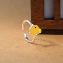 New hot 925 cute animals small yellow duck adjustable ring pampers with the trend CR041(China)