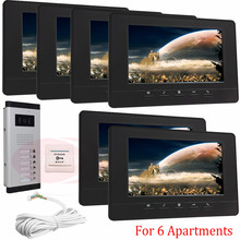 "For 6 Apartments Home Surveillance Video Intercom Door Phone 7"" LCD Monitor DoorPhone IR Camera In Stock!"