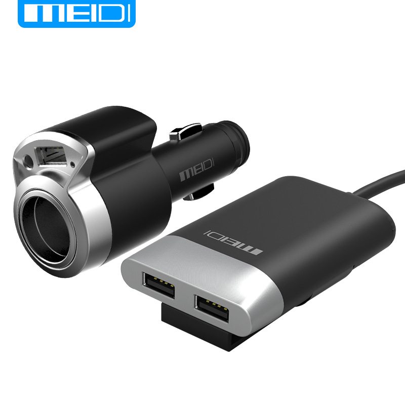 MEIDI Car Charger 3 Ports USB & Cigarette Lighter Adapter With 2M Cable Universal USB fast charger for Mobile Phones Tablet(China)