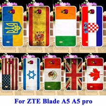 AKABEILA Silicon Cases Covers For ZTE Blade AF3 A3/ZTE Blade A5 A5 pro AF 3 C341 T221 Retro UK Russia Brazil National Flag Shell