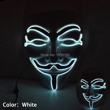 2017 Hottest Stage Lamp 10 Colors Neon Led Bulb Dance Queen Mask EL Cable Rope Anonymous Mask for Glow in Dark Costume Party(China)