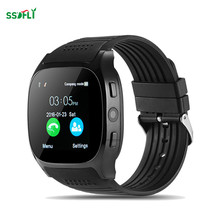 T8 Bluetooth smart watch support TF card mini Sim card FM radio pulse watch 0.3MP camera phone call pedometer sleep monitoring(China)