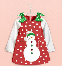 DQ0218 Retail girls christmas dress Long sleeve dot light snow flower snowman girl Christmas dress costume children clothes(China)