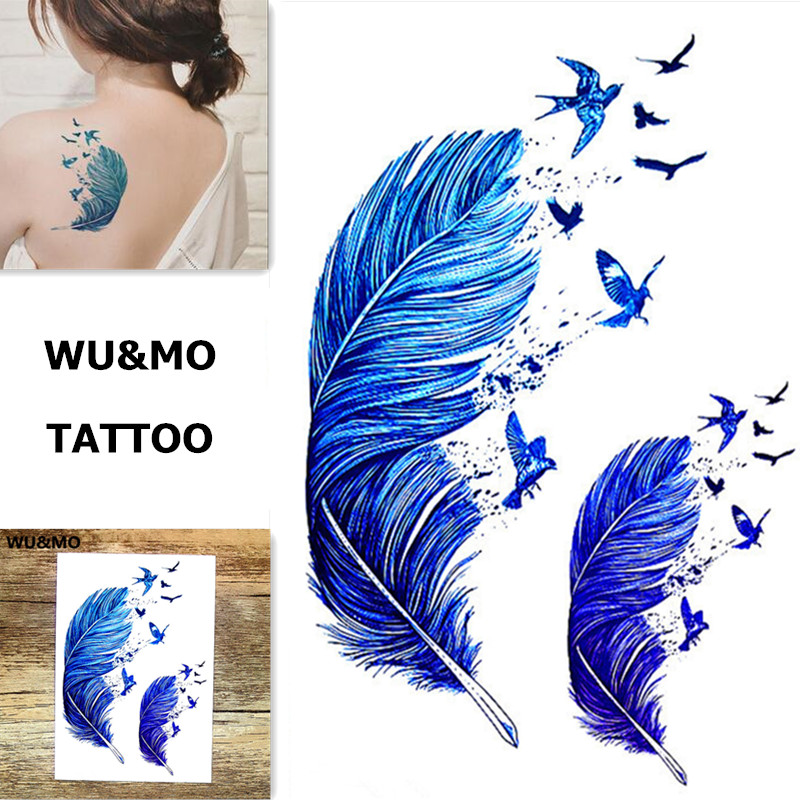 WU&MO New Arrival Colorful Feathers Flowers Fake Flash Sexy Body Art Temporary Tattoo Stickers For Man Woman 150x105mm