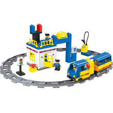 Railway Train Police Station Electric Blocks Compatible With DUPLO Auto Battery Operated Rail Building Toys For Kid