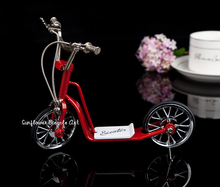 diy miniature metal assembled Red metal scooter model simulation mini bike doll toys for children kids birthday Christmas gift(China)