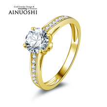 AINUOSHI 10k Solid Yellow Gold Wedding Ring 1 ct Round Cut Joyeria Fina Promise Band Simulated Diamond Women Engagement Rings