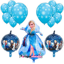 15pcs/lot 90CM Princess Elsa Foil Helium Balloons 12inch Snowflake Latex Balloon Kids Birthday Christmas Party Decor Supplies(China)