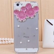 fashion rhinestone crystal pearl mickey Hard Back Cover Skin case shell for iphone 5 5s iphone 4 4s cell phone case(China)