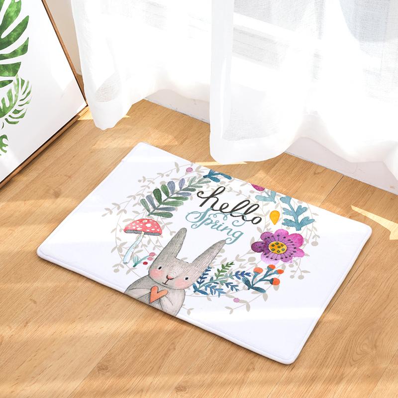 Flannel Floor Mats Warm Cartoon Printed Bedroom Living Room Carpets ...