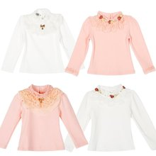 Autumn Child Kids Baby Girl Long Sleeve Blouse Tops Floral Lace Collar T shirts