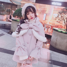Princess sweet lolita woolen coat Bobon21 super detachable Plush cloak two sets of lace and trumpet sleeves woolen coat C1569(China)