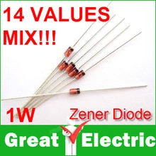 140PC/Lot 1W Zener diode,14valuesX10pcs=140pcs,Electronic Components Package,Zener Diode Assorted Kit  Free Shipping #CGKCH028