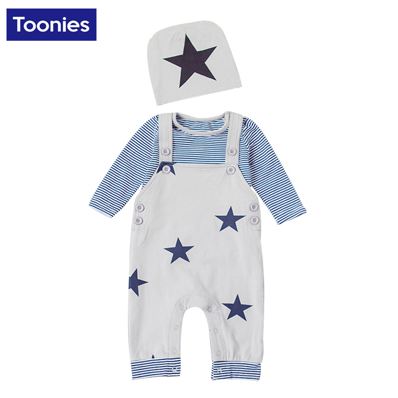 2017 0-2Y Baby Clothing Stars Striped Suit Romper Jumpsuit Newborn Baby 3PC( Hat, T-shirt+Pants) Boys Girls Toddler Clothes Set<br><br>Aliexpress