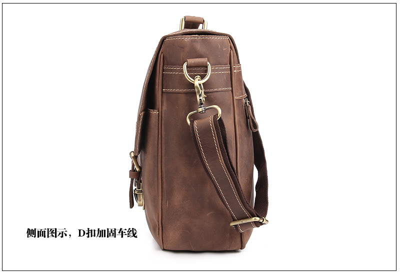 Men's Genuine Leather Briefcase Handbag Laptop Document Bags Portfolio iPad Case Messenger Crossbody Shoulder Bag Mushi1042