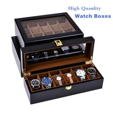 European Style Black Watch Boxes Fashion Wood And Leather Watch Storage Box Wholesale Watch Jewelry Gift Display Case W28-38-46(China)