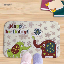 Big discount Happy birthday cartoon elephant printed home door mats kitchen bath living room carpets 40x60cm Flannel doormat(China)