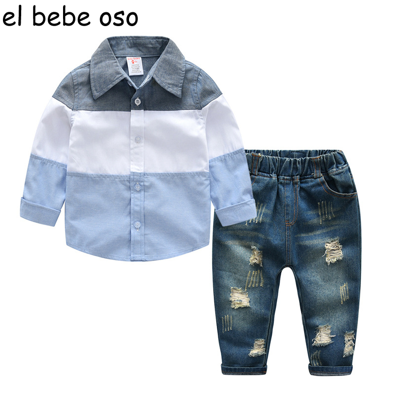 NEW Fashion Spring Style Childrens Clothing Sets 2018 Long Sleeve Patchwork Shirts+Hole Jeans 2pcs Baby Boys Kids Sets XL175<br>