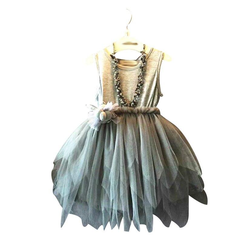 Hot Sale Europe and America Style Baby Girls Summer Dress 2016 New Children Irregular Princess Cotton Dress Gray<br><br>Aliexpress