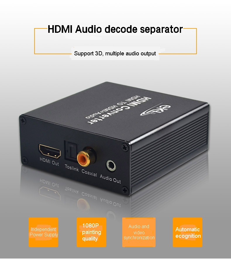 EKL 1080P HD HDMI to HDMI+AUDIO Video Converter Decoder Adapter Remove HDCP KEY Agreement Audio Separator