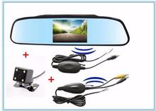 "2.4GHZ Wireless 4.3"" Car Rear Mirror Monitor With reverse Camera system Vehicle Wireless Transmitter Receiver Parking Assistance"