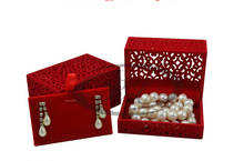 High-grade Velvet Pendants/Earring boxes !Free Shipping 8.6*5.8*4.7cm 6pcs Red Romantic Wedding Box Jewelry Display Gift Case