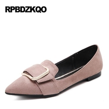 Buy Embellished 2017 Flats Large Size Pointed Toe Ladies Beautiful Shoes Metal Shallow 41 Size 9 Latest Pink Women Suede Slip for $28.07 in AliExpress store