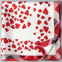2017 Spring Love Heart Print 100% Silk Twill Scarf Women's Small Square Silk Scarves Wraps Necktie Wristband Bag Scarf 55x55cm
