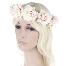 Bridal Flower Crown Headband Women Wedding Beach Garlands Hairband Halo Bohemian Wreath Hair Accessories(China)