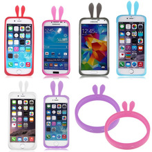 Universal Cute Rabbit Ears Soft Silicone Frame Phone Skin Bumber Girl Case for iPhone for Samsung Sony LG