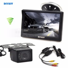DIYKIT Wireless 5 inch TFT LCD Car Monitor Suction Cup and Bracket + IR Night Vision Rear View Car Camera Parking System