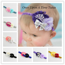 10pcs/lot girl Shabby Chiffon Flowers With Crown Headband Fascinator Girls Hair Accessories FDA82