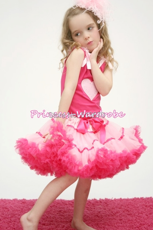 Valentine Pink Heart Shirt Top Double Pink Pettiskirt Girl Clothing 1-8Y MAPSA0257<br>