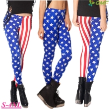 The US Flag Leggings Fitness Gym Workout Tights White Star Red Stripe Print Running Pants Stretchy Skinny Femme Pencil Trousers
