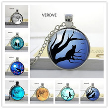 Free Shipping 2017 new Glass Cabochon Round Blue Moon and Glass Necklaces Cat Galaxy Round Crystal Pendant Necklace(China)