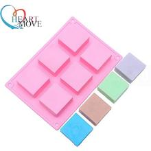 6 Cavities 3D handmade Rectangle Square silicone soap Mold chocolate cookies mould cake decorating fondant molds 9516