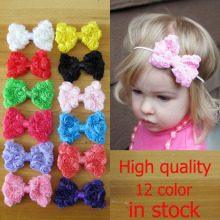 try order kids girl 8cm Chiffon rose flower bow 20pcs/lot DIY headband hair accessories Free Shipping(China)