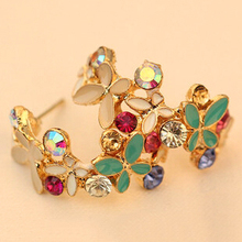$10 (mix order) Free Shipping Fashion Lovely Rhinestone Flower Butterfly Earring For Women R3516 5g