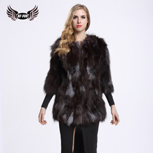BFFUR Fox Fur Coat New 2017 Winter Women Outerwear Warm Real Fur Coat Shop Winter Coats Plus Size S-8XL BF-C0035