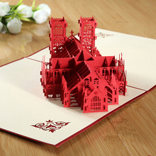 3D Pop Up Greeting Card Handmade Westminster Abbey Birthday Children Mothers Fathers Day Greeting Card KT0940(China)