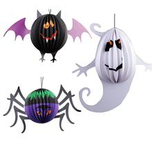 2017 Halloween Paper Lanterns Spider Bat Ghost Shape Hanging Ornaments Party Scene Layout COS Play Decorations Art paper